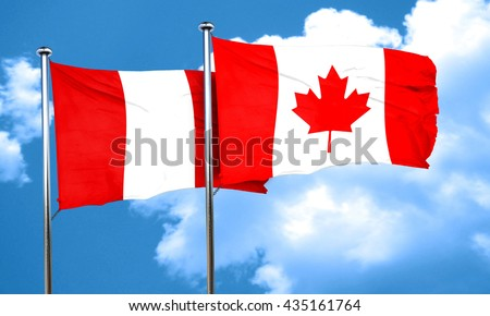 Peru flag with Canada flag, 3D rendering