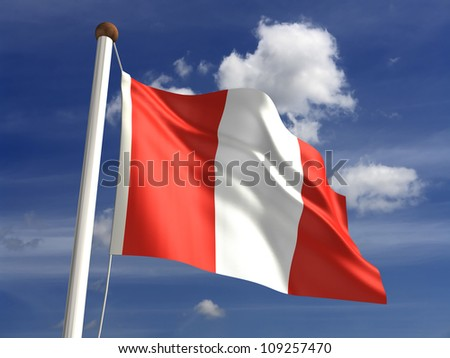 Peru flag (with clipping path) - stock photo
