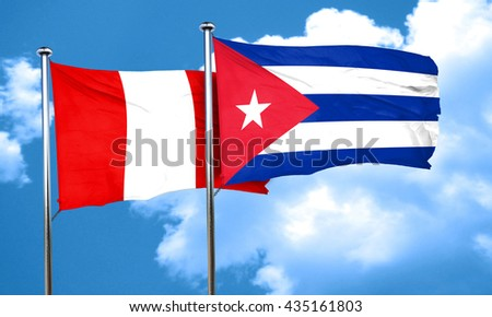 Peru flag with cuba flag, 3D rendering