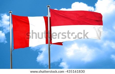 Peru flag with Indonesia flag, 3D rendering