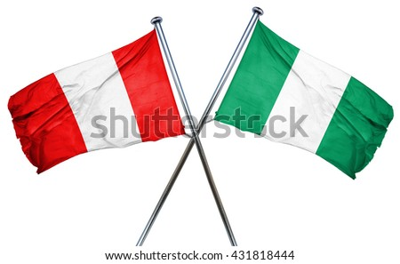 Peru flag with Nigeria flag, 3D rendering
