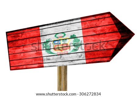 Peru flag wooden sign isolated on white - stock photo