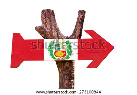 Peru Flag wooden sign isolated on white background - stock photo