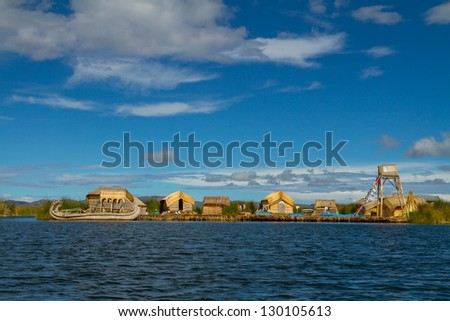 Peru, floating Uros islands on the Titicaca lake, the largest highaltitude lake in the world (3808m).