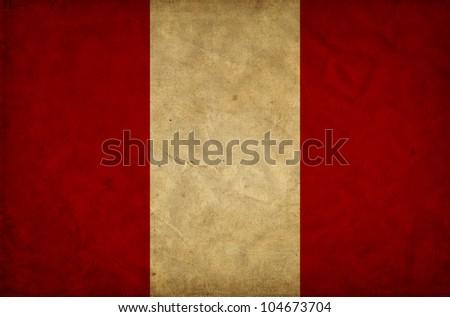 Peru grunge flag - stock photo