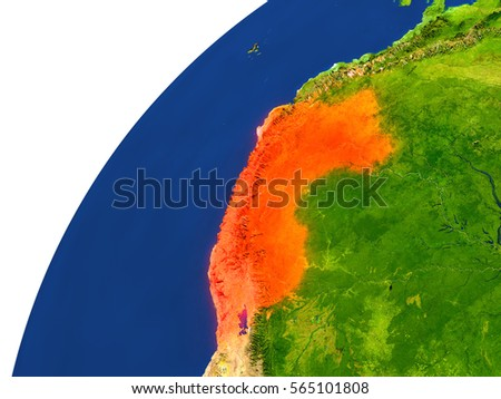 Peru highlighted in red as seen from Earth's orbit in space. 3D illustration with highly detailed realistic planet surface. Elements of this image furnished by NASA.