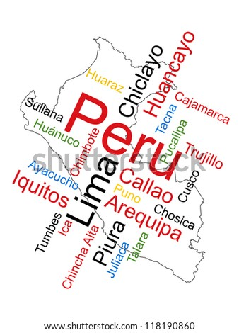 Peru map and words cloud with larger cities; eps vector version also available - stock photo