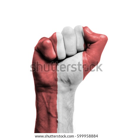 Peru national flag painted onto a male clenched fist. Strength, Power, Protest concept