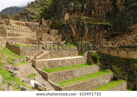 Peru, Ollantaytambo - Inca fortress in the sacred valley in the Peruvian Andes - stock photo