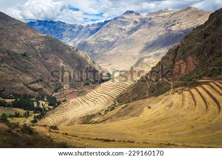 Peru, Pisac - Inca ruins in the sacred valley in the Peruvian Andes - stock photo