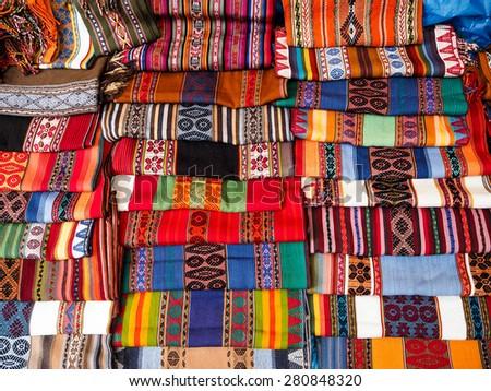 Peru Textile in Pisac market - stock photo