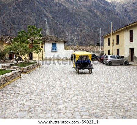 Peru Village Square Taxi - stock photo