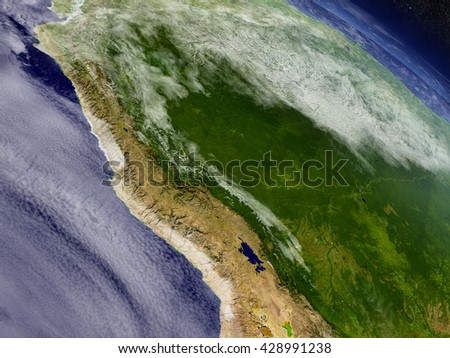 Peru with surrounding region as seen from Earth's orbit in space. 3D illustration with highly detailed realistic planet surface and clouds in the atmosphere. Elements of this image furnished by NASA. - stock photo