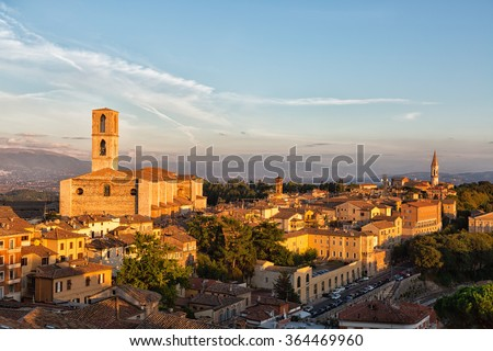 Perugia - a view of the old town and the Basilica di San Domenico, Umbria