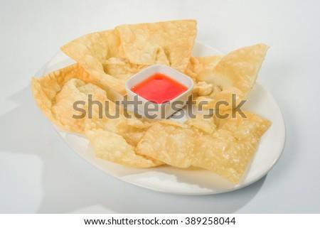 """Peruvian Chinese fusion food: """"Wantan frito - stock photo"""