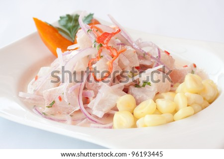 Peruvian cuisine, cebiche - stock photo