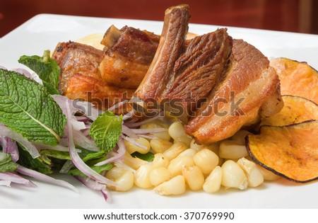 PERUVIAN FOOD: CHICHARRONES DISH - stock photo