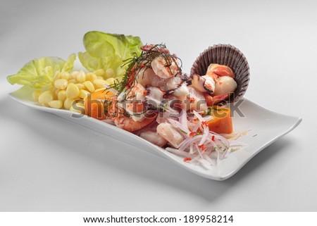 PERUVIAN FOOD: Sea food ceviche - stock photo