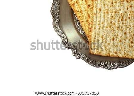 Pesah celebration concept (jewish Passover holiday). isolated on white