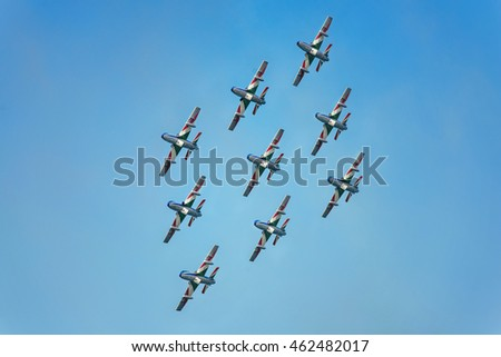 Pesaro, ITALY - july, 31 2016: The fly by of Frecce Tricolori (Tricolour Arrows) acrobatic aircraft team exhibition