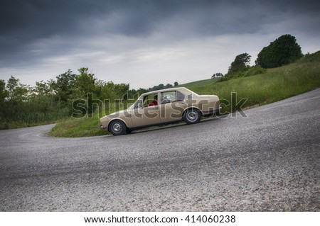 PESARO, ITALY - MAY 15: alfa romeo alfetta old racing car in rally Mille Miglia 2015 the famous italian historical race (1927-1957) on May 2015