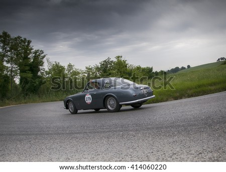 PESARO, ITALY - MAY 15: ALFA ROMEO 1900 C Sprint Pininfarina 1953 old racing car in rally Mille Miglia 2015 the famous italian historical race (1927-1957) on May 2015