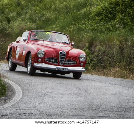 PESARO, ITALY - MAY 15: ALFA ROMEO 1900 Sprint Cabriolet 1953 S  old racing car in rally Mille Miglia 2015 the famous italian historical race (1927-1957) on May 2015