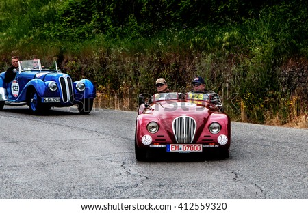 Pesaro, Italy - May 15, 2015: CARGEM FIAT 508 C Sport 1937  in nidentified crew on an old racing car in rally Mille Miglia 2015 the famous italian historical race (1927-1957)
