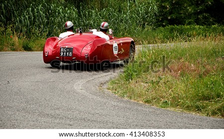PESARO, ITALY - MAY 15: CISITALIA 220 SMM Spider 1948 old racing car in rally Mille Miglia 2015 the famous italian historical race (1927-1957) on May 2015