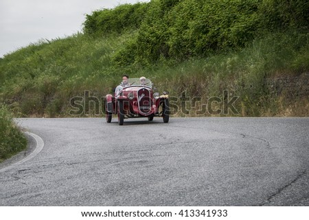 Pesaro, Italy - May 15, 2015:  FIAT 508 S Coppa d'Oro Balilla Sport 1934  old racing car in rally Mille Miglia 2015 the famous italian historical race (1927-1957)