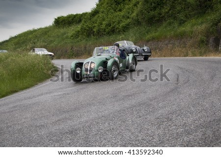 PESARO, ITALY - MAY 15: HEALEY 2400 Silverstone 1949 old racing car in rally Mille Miglia 2015 the famous italian historical race (1927-1957) on May 2015