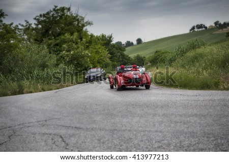 PESARO, ITALY - MAY 15: HEALEY 2400 Silverstone 1950  old racing car in rally Mille Miglia 2015 the famous italian historical race (1927-1957) on May 2015