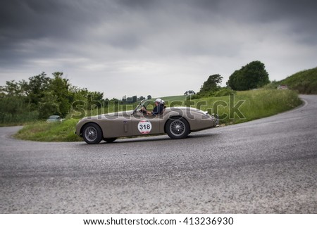 PESARO, ITALY - MAY 15:JAGUAR XK 120 OTS Roadster 1954   old racing car in rally Mille Miglia 2015 the famous italian historical race (1927-1957) on May 2015