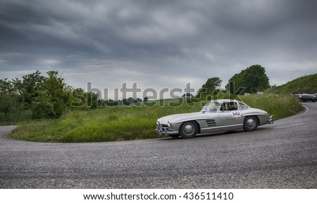PESARO, ITALY - MAY 15: MERCEDES - BENZ 300 SL Coupé W 198 1955  on an old racing car in rally Mille Miglia 2015 the famous italian historical race (1927-1957) on May 2015