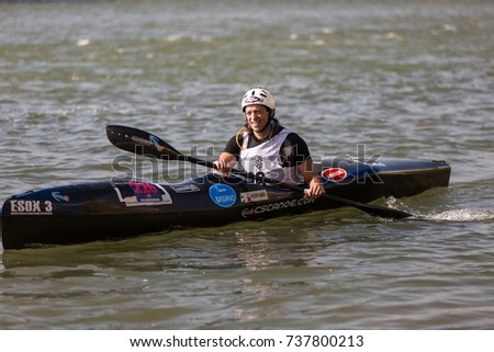 PESCANTINA, VERONA ,ITALIA- OCTOBER 15, 2017: kayak racing in the river Adige, ADIGE MARATHON, VERONA, ITALIA- OCTOBER 15,2017