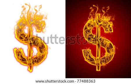pesos sign fire on a red and white background
