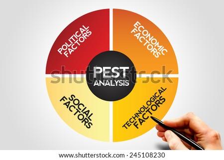 PEST Analysis Strategy Diagram , Business, Presentation, Website, Seminar - stock photo