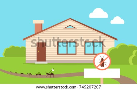 Pest control concept with cockroach leaving house. illustration in flat style of isolated residential building and path near with line of cockroaches going away and warning round sign.