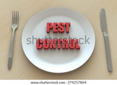 PEST CONTROL, message on dish - stock photo