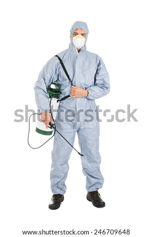 Pest Control Worker In Protective Workwear With Pesticides Sprayer Over White Background - stock photo