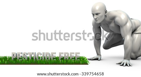 Pesticide Free Concept with Man Looking Closely to Verify - stock photo