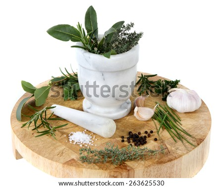 Pestle and mortar with herbs  - stock photo
