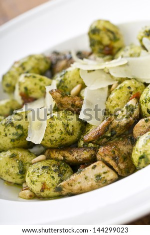 pesto gnocchi pasta with grilled meat