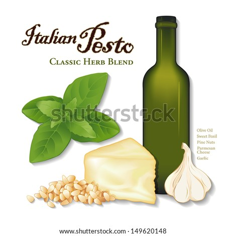 Pesto, Italian Herb Sauce, Garlic, Sweet Basil, pine nuts, Parmesan cheese, bottle of olive oil. Classic sauce for pasta, vegetables, meats, seafood. See other herb blends and spices in this series.  - stock photo