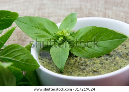 Pesto sauce and basil leaves closeup - stock photo