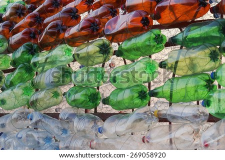 Pet bottles - abstract background - stock photo