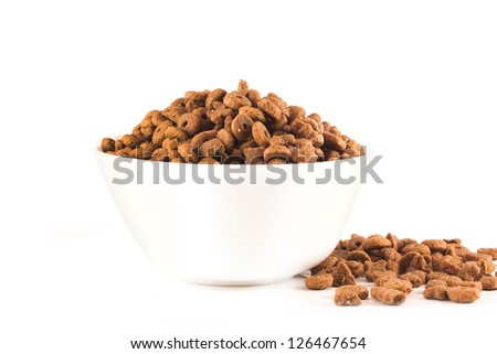 Pet dried food on isolated white background