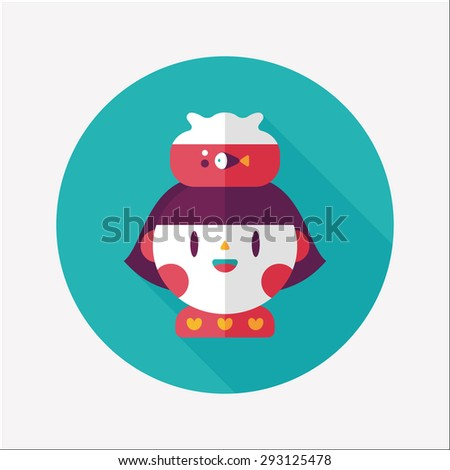 Pet fish and girl friendship flat icon with long shadow
