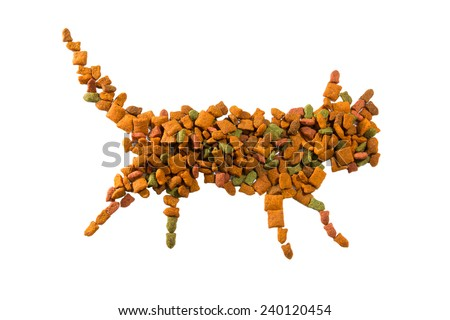 pet food for cat piled in a shape of cat on white background - stock photo