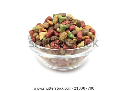 pet food in a glass on a white background  - stock photo